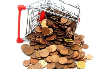 Tipped over shopping cart full of coins_CardinalCommerce